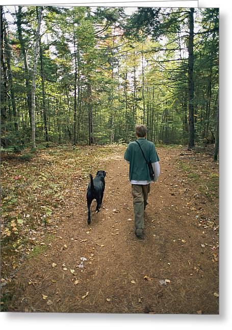 Woodland Views Greeting Cards - Owen And Blackie Curtsinger Walk Greeting Card by Bill Curtsinger