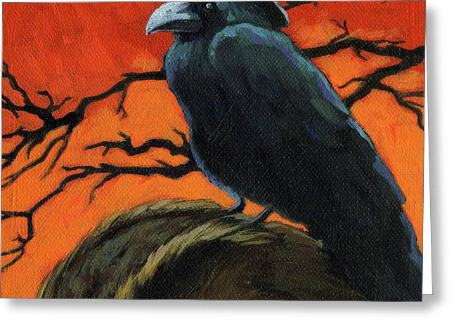 Owl and Crow Halloween Greeting Card by Linda Apple