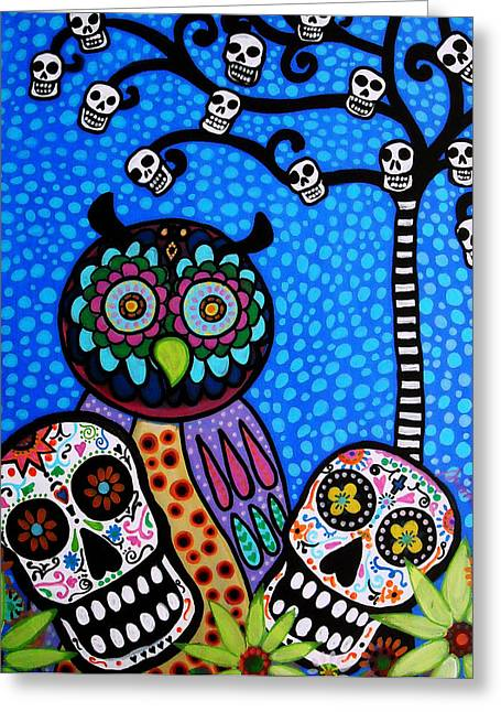 Dia De Los Muertos Art Greeting Cards - Owl And Sugar Day Of The Dead Greeting Card by Pristine Cartera Turkus