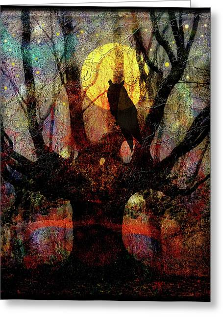 Willows Greeting Cards - Owl And Willow Tree Greeting Card by Mimulux patricia no