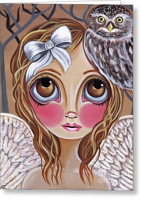 Faerie Paintings Greeting Cards - Owl Angel Greeting Card by Jaz Higgins