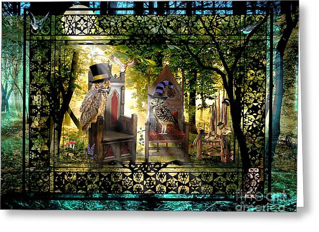 Imaginary Owl Greeting Cards - Owl Empire Society Greeting Card by Warrior Danika
