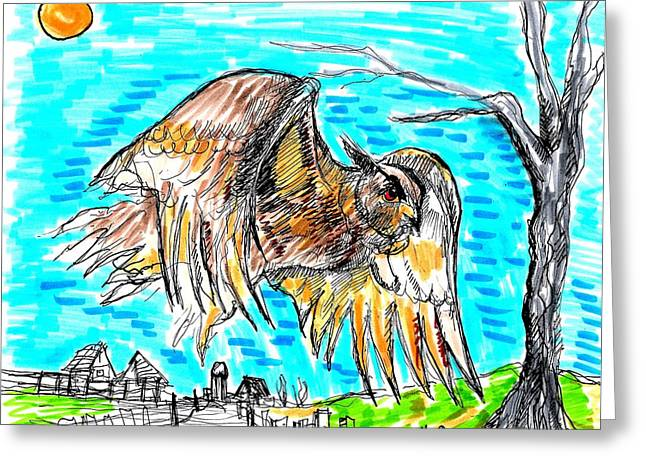 Van Gogh Influence Greeting Cards - Owl Flying Rural  Greeting Card by Jon Baldwin  Art