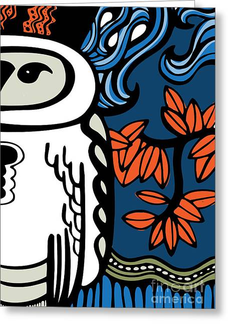 Abstract Owl Greeting Cards - Owl Greeting Card by HD Connelly