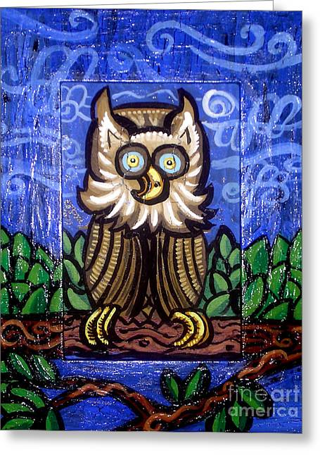 Whimsical Mixed Media Greeting Cards - Owl Magic Greeting Card by Genevieve Esson