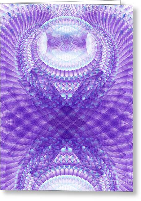 Recently Sold -  - Gnarly Greeting Cards - Owl Medicine Fractal Greeting Card by Miabella Mojica
