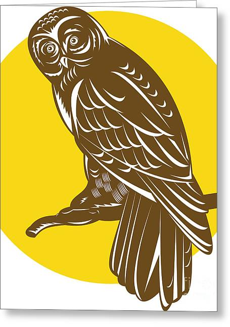 Retro Bird Greeting Cards - Owl on Branch Retro Greeting Card by Aloysius Patrimonio