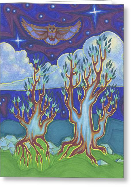 Surreal Landscape Drawings Greeting Cards - Owl Sky Greeting Card by James Davidson
