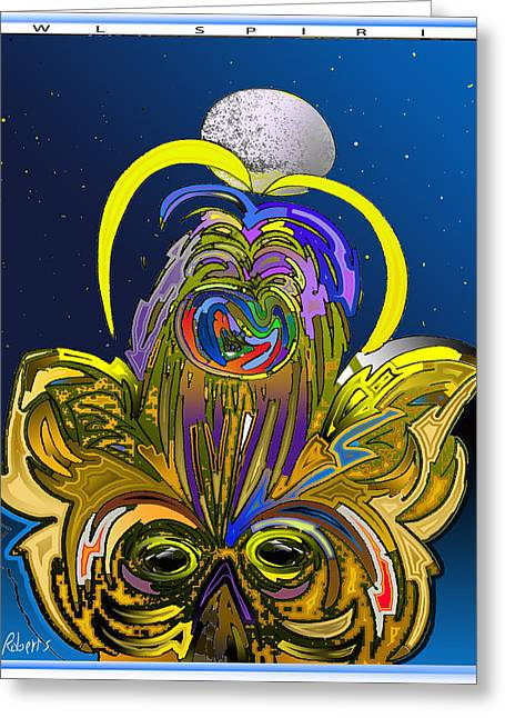 Harvest Moon Mixed Media Greeting Cards - Owl Spirit Greeting Card by Jody Roberts