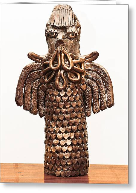 Winged Sculptures Greeting Cards - Owl Totem bronze gold color wings beak hair penetrating eyes  scales feathers   Greeting Card by Rachel Hershkovitz