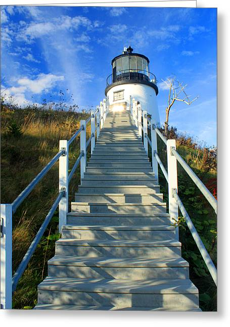 Maine Lighthouses Greeting Cards - Owls Head Lighthouse Greeting Card by John Burk