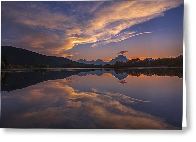 Moran Greeting Cards - Ox Bow Bend Sunset Greeting Card by Joseph Rossbach