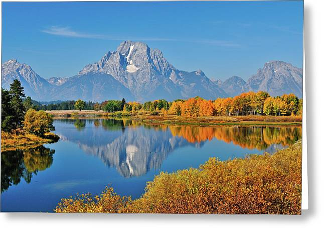 Oxbow Bend Reflections Greeting Card by Greg Norrell