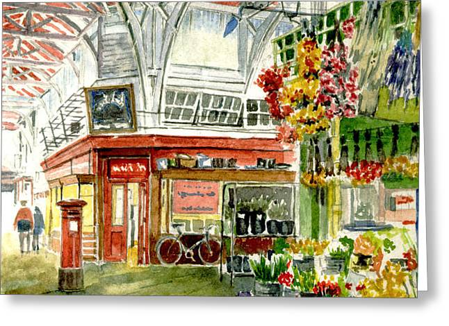 Oxford's Covered Market Greeting Card by Mike Lester
