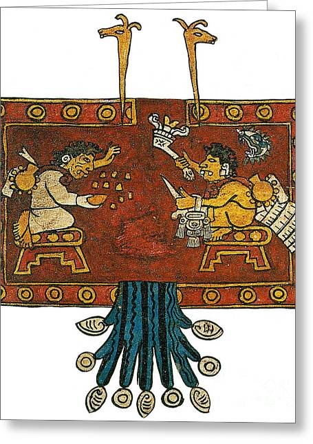 Lost Civilization Greeting Cards - Oxomoxo And Cipactonal, Aztec Adam Greeting Card by Photo Researchers