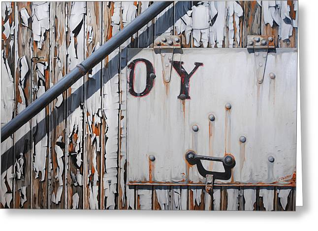 Rusted Cars Paintings Greeting Cards - ...oy Greeting Card by Chris Steinken
