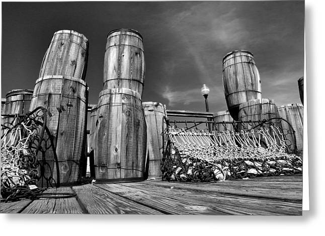 Historical Photographs Greeting Cards - Oyster Barrels and Nets I Greeting Card by Steven Ainsworth