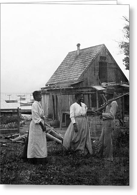 Historic Home Greeting Cards - Oyster Fishermen - Chesapeake Bay Maryland - c 1905 Greeting Card by International  Images