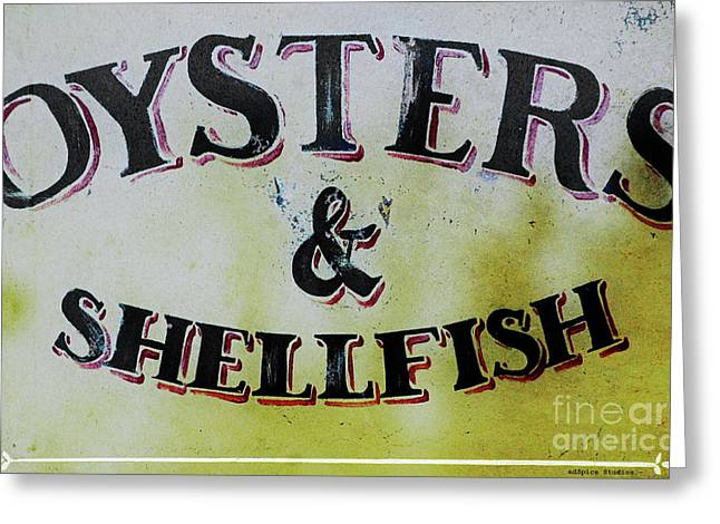 Country Cottage Mixed Media Greeting Cards - Oysters and Shellfish Art Print Greeting Card by adSpice Studios