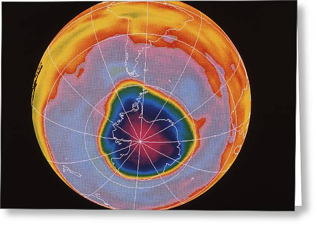 Nimbus-7 Imagery Greeting Cards - Ozone Hole Over Antarctica Greeting Card by NASA / Science Source