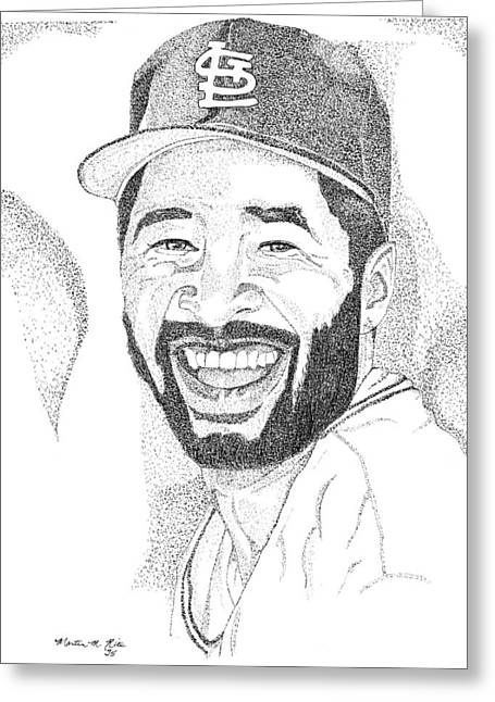 Ozzie Smith Greeting Card by Marty Rice