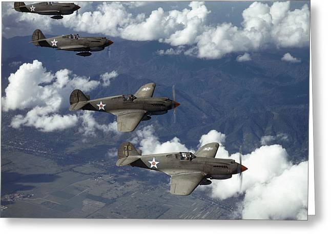 U.s. Army Air Corps Greeting Cards - P-40 Pursuits Of The U.s. Army Air Greeting Card by Luis Marden