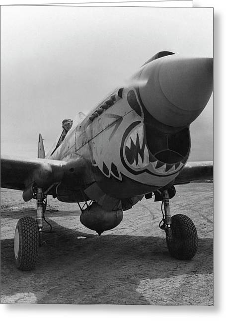 Flying Planes Greeting Cards - P-40 Warhawk Greeting Card by War Is Hell Store