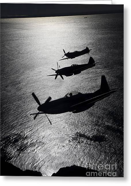 Spitfire Greeting Cards - P-51 Cavalier Mustang With Supermarine Greeting Card by Daniel Karlsson