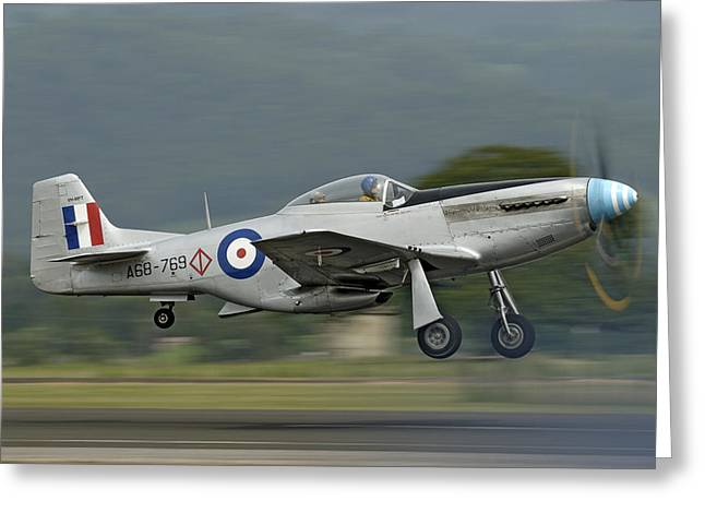Prop Blurr Greeting Cards - P-51 Mustang Greeting Card by Barry Culling