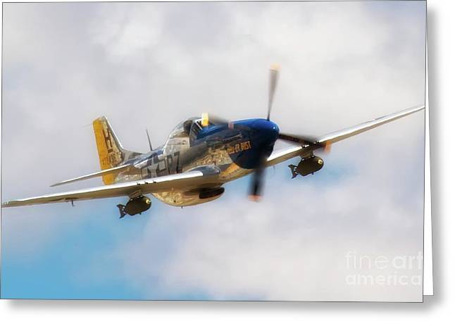 Planes Of Fame Greeting Cards - P-51D Mustang Hell Er Bust 2011 Chino Air Show Greeting Card by Gus McCrea