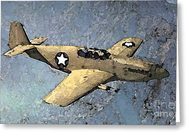 P51 Mustang In Flight Greeting Card by George Pedro