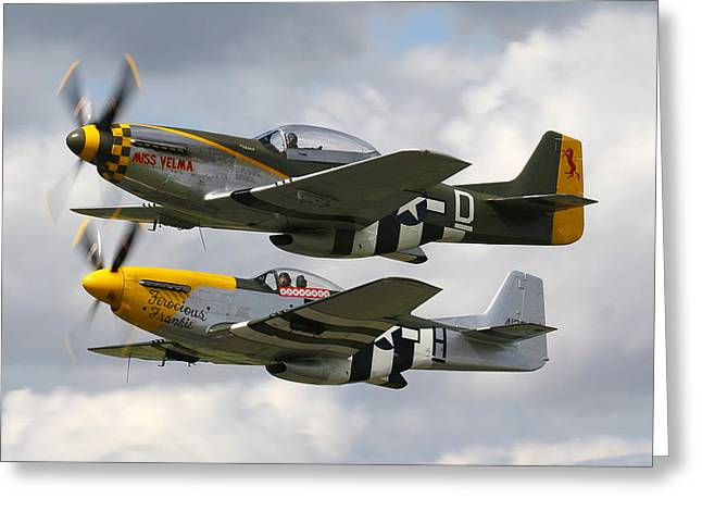Ferocious Frankie Greeting Cards - P51 Mustangs Greeting Card by Ken Brannen