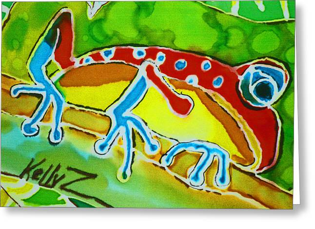 Amphibians Tapestries - Textiles Greeting Cards - Pa Froggy Greeting Card by Kelly     ZumBerge