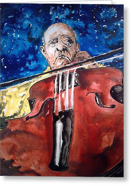 Etc. Paintings Greeting Cards - Pablo Casals Greeting Card by Omar Javier Correa