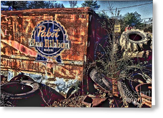 Photographers Ellenwood Greeting Cards - Pabst Blue Ribbon Delievery Truck Greeting Card by Corky Willis Atlanta Photography