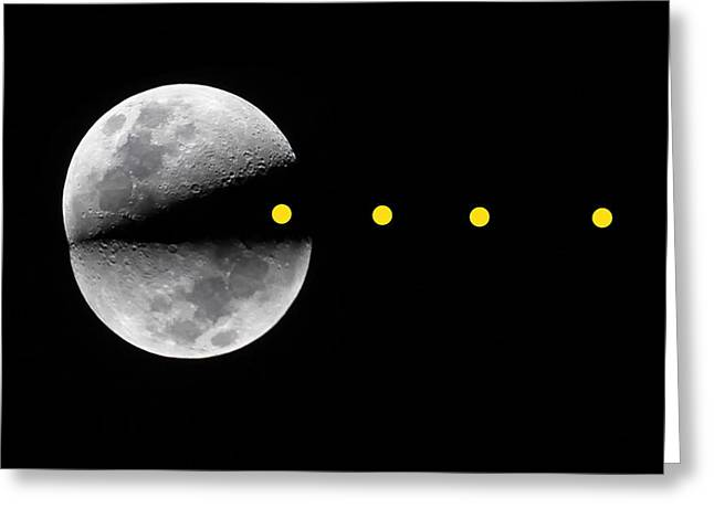 Pac Man Greeting Cards - Pac-moon Greeting Card by Dave Stegmeir