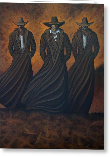 Arizona Contemporary Cowboy Greeting Cards - Pac Of Three Greeting Card by Lance Headlee