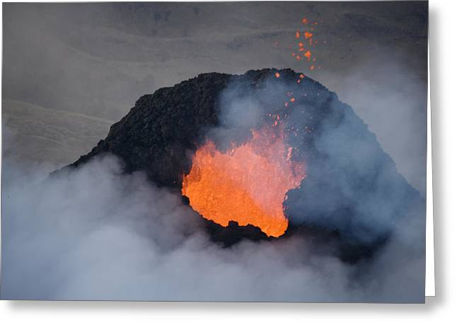 Volcanoes And Volcanic Action Greeting Cards - Pacaya Volcano Erupting At First Light Greeting Card by Bobby Haas