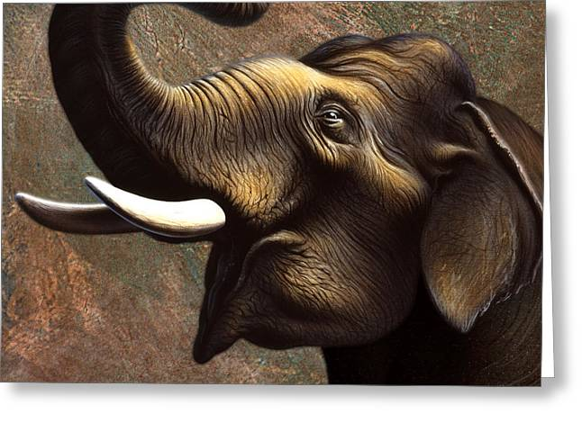 Asian Wildlife Greeting Cards - Indian Elephant 3 Greeting Card by Jerry LoFaro