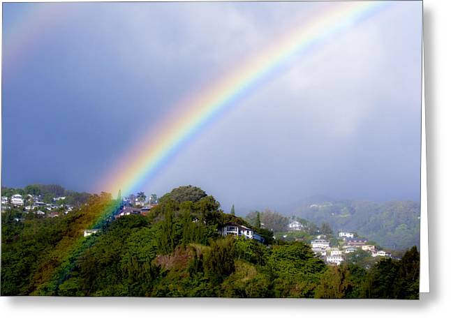 Double Rainbow Greeting Cards - Pacific Hieghts Rainbow Greeting Card by Joe Carini - Printscapes