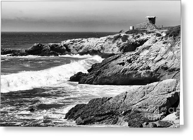 Pacific Ocean Prints Greeting Cards - Pacific Lifeguard View in bw Greeting Card by John Rizzuto