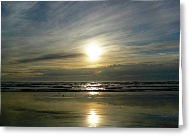 Patch Greeting Cards - Pacific Ocean Setting Sun  Greeting Card by Pamela Patch