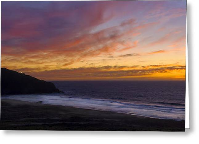 Big Sur Beach Greeting Cards - Pacific Sunset at Point Sur Greeting Card by Steven Wynn