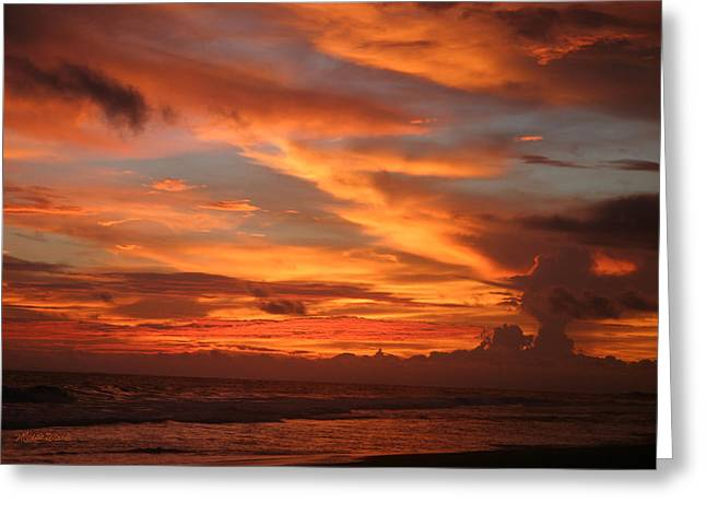 Surf Silhouette Greeting Cards - Pacific Sunset Costa Rica Greeting Card by Michelle Wiarda