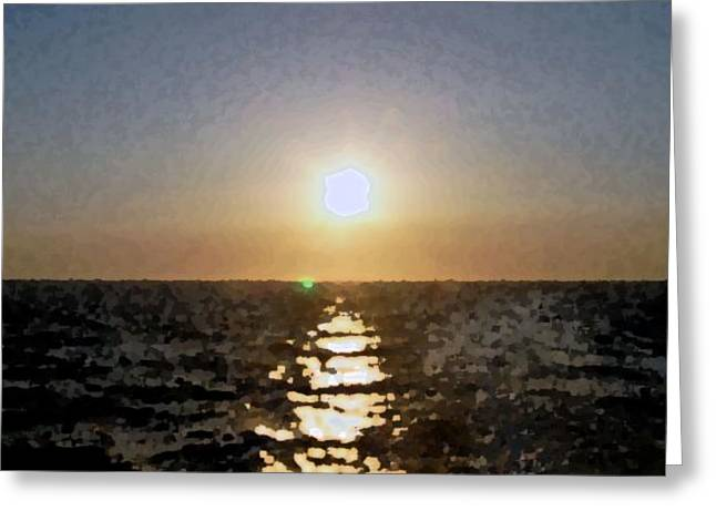 Seacape Digital Art Greeting Cards - Pacific Sunset Greeting Card by Kenna Westerman