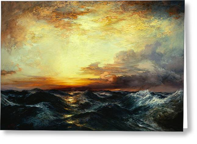 Masterpiece Paintings Greeting Cards - Pacific Sunset Greeting Card by Thomas Moran
