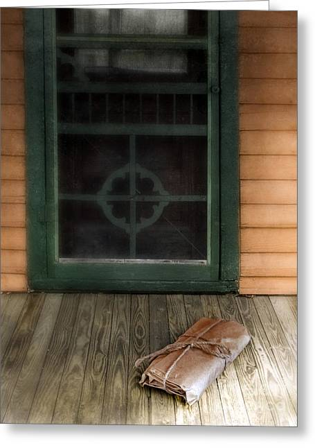 Screen Doors Greeting Cards - Package on Front Porch Greeting Card by Jill Battaglia