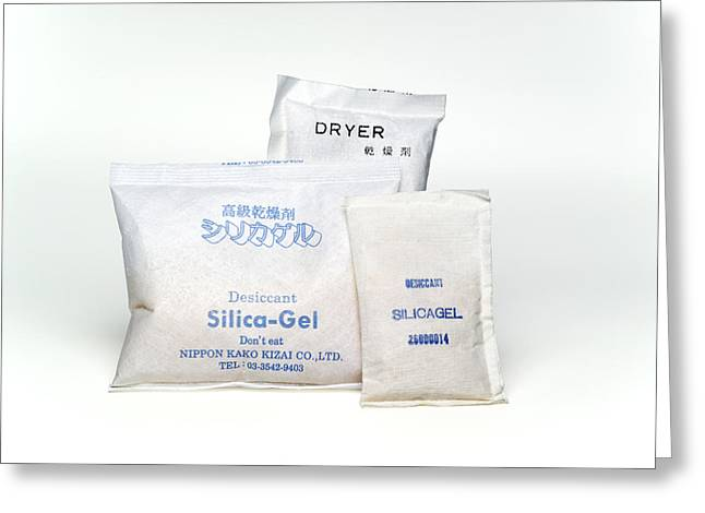 Packets Of Silica Gel Greeting Card by Paul Rapson