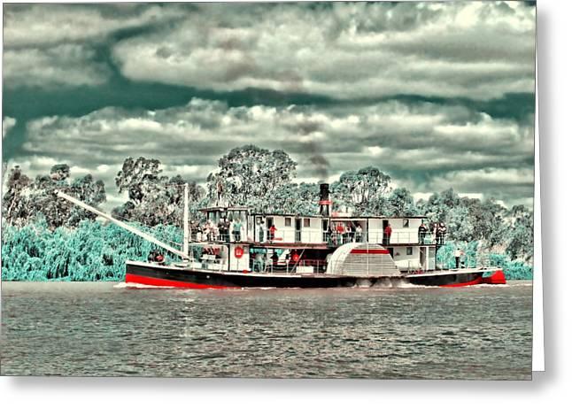 Paddle Steamer Greeting Card by Douglas Barnard