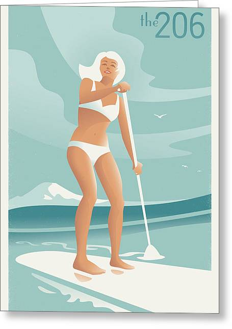 Paddleboarding Seattle Greeting Card by Mitch Frey